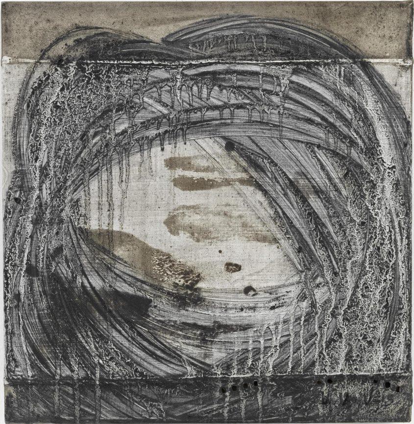 Acceleration 3 // Asche in Eitempera auf Leinwand // 40 x 40 cm // 2014
