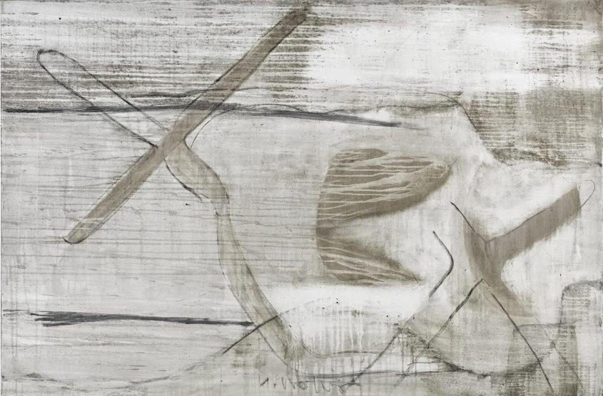Acceleration 2 // Asche in Eitempera auf Leinwand // 120 x 180 cm // 2015