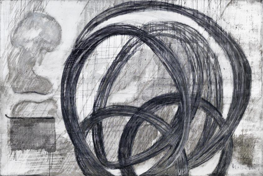 Acceleration 1 // Asche in Eitempera auf Leinwand // 120 x 180 cm // 2015
