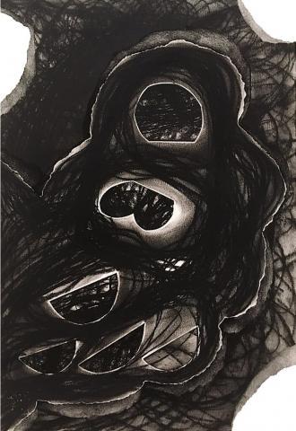 Acceleration Drawings 3 // Kohle auf Papier // 70 x 50 cm // 2017