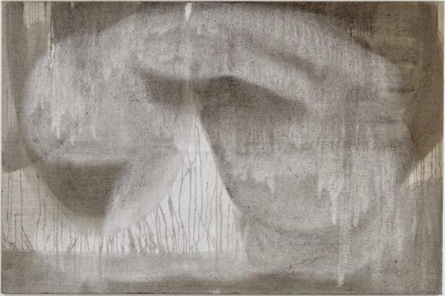 Gravity  // Asche auf Leinwand // 100 x 150 cm // 2014