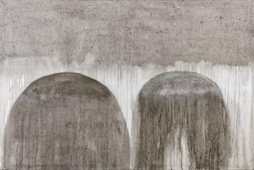 Magnetism // Asche in Eitempera auf Leinwand // 120 x 180 cm // 2014