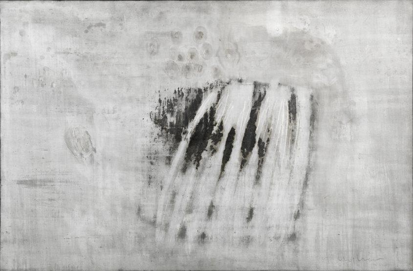 Origin of the world 1 // Asche in Eitempera auf Leinwand // 120 x 180 cm // 2015