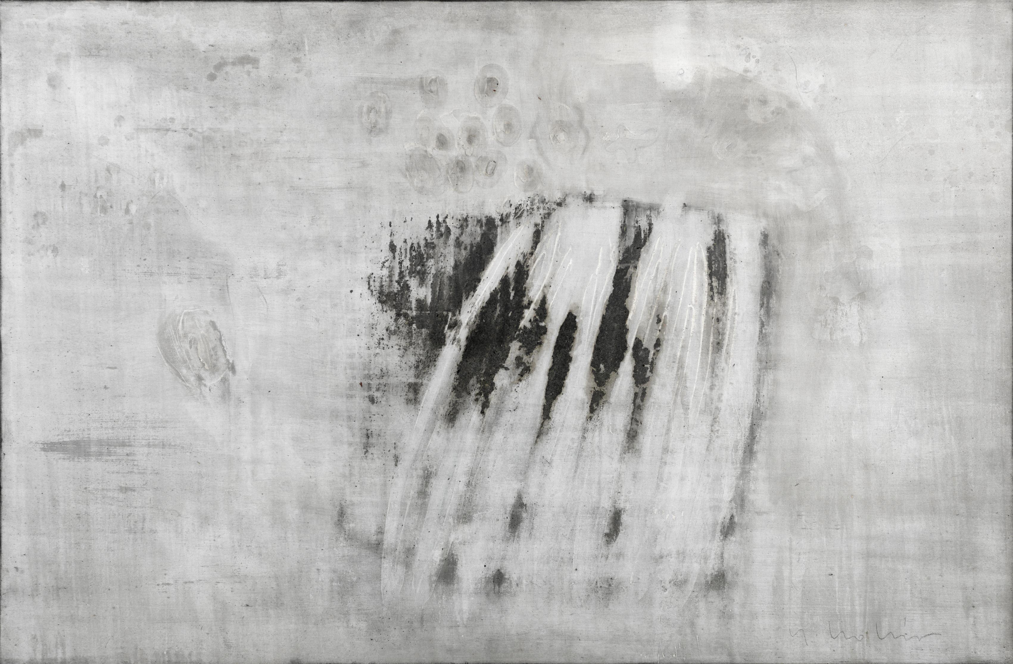 Origin of the world 1 // Asche auf Leinwand // 120 x 180 cm // 2015