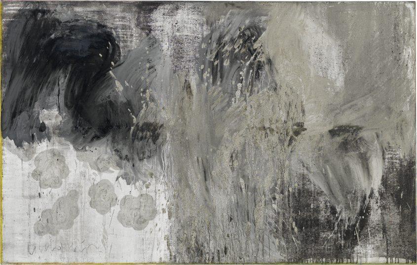 Clouds 1 // Asche in Eitempera auf Leinwand // 100 x 160 cm // 2014