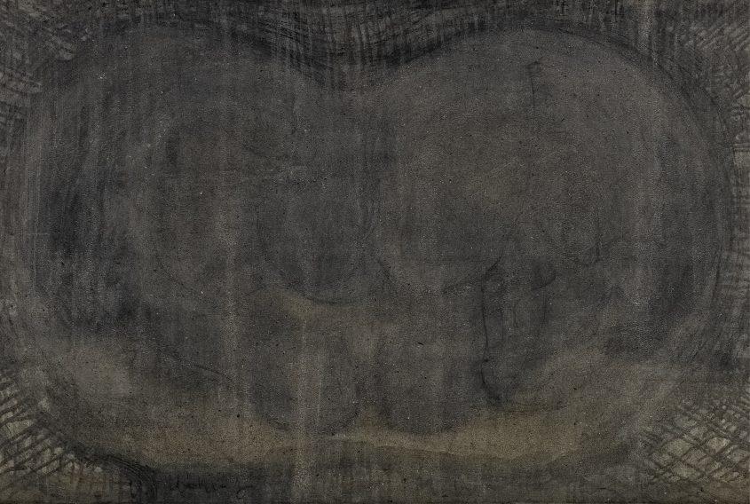Heads 4 // Asche in Eitempera auf Leinwand // 100 x 160 cm // 2014