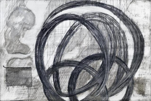 Acceleration 1  // Asche auf Leinwand // 120 x 180 cm // 2014
