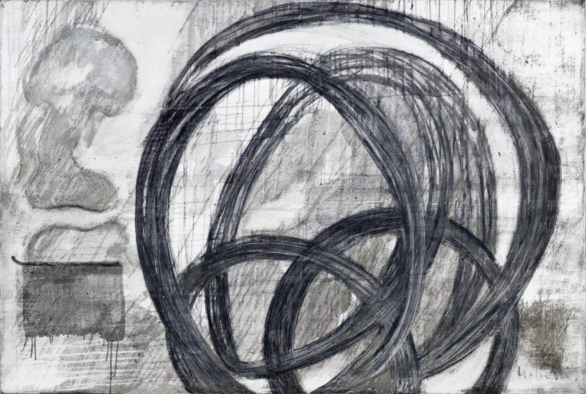Acceleration 1  // Asche in Eitempera auf Leinwand // 120 x 180 cm // 2014
