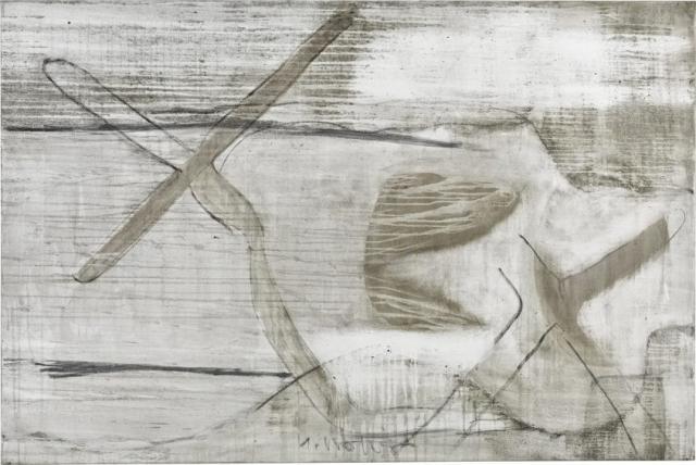 Acceleration 2  // Asche auf Leinwand // 120 x 180 cm // 2015