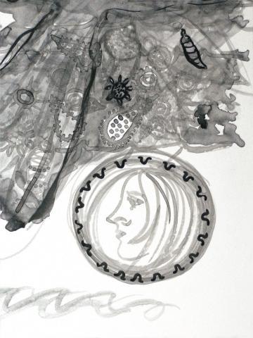 Antigone 3 // Tusche auf Papier // 40 x 30 cm // 2018