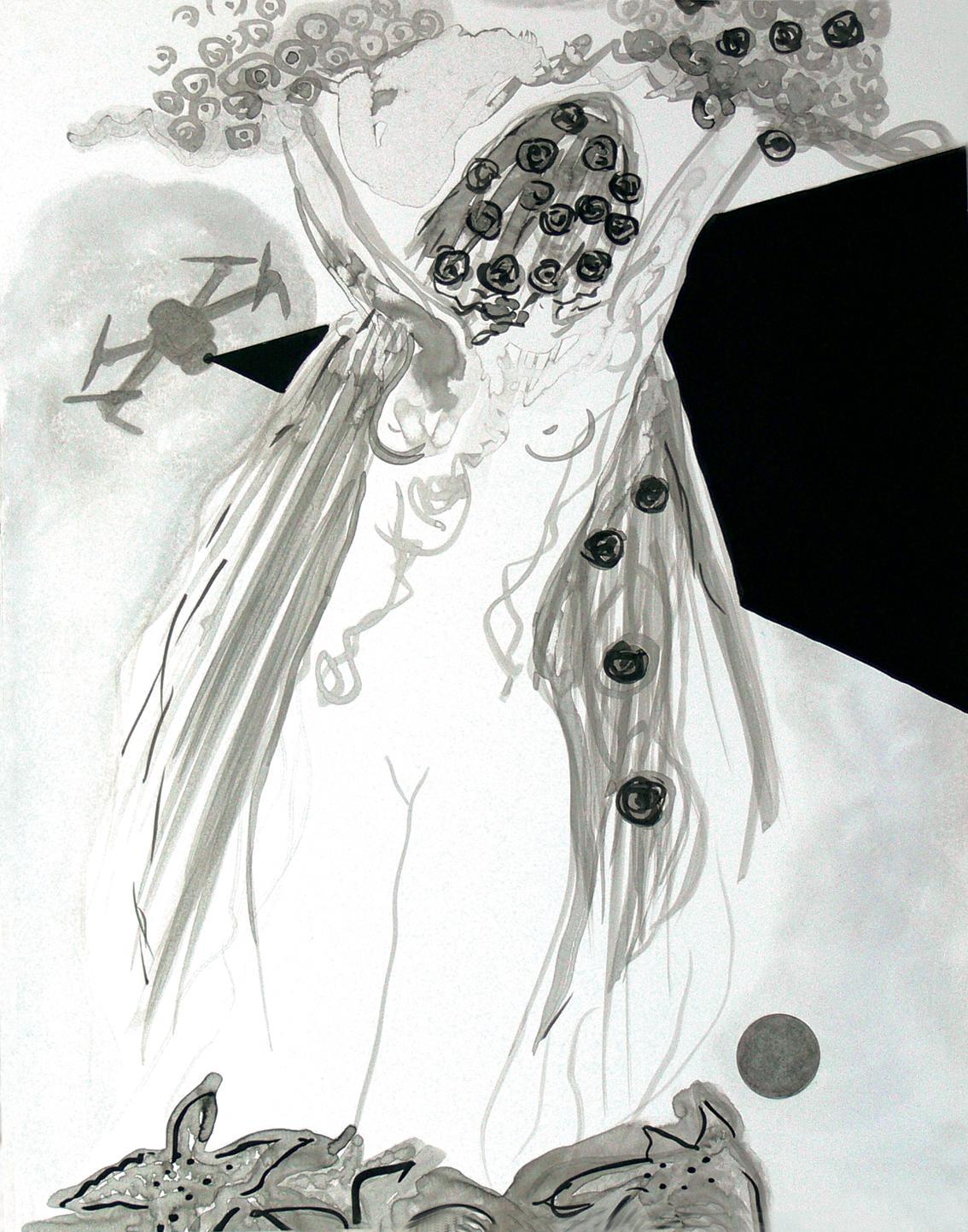 Antigone 1 // Tusche auf Papier // 50 x 40 cm // 2018