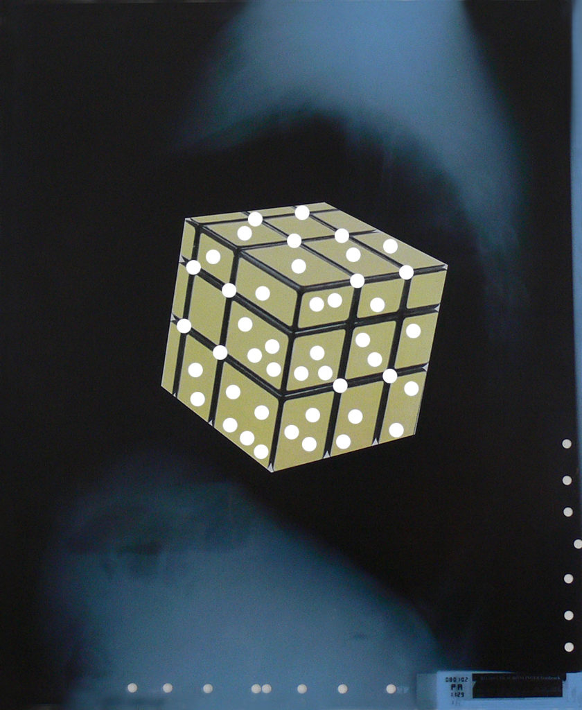 Futur Cube // Röntgenbild auf Papier, Collage // 60 x 50 cm // 2019